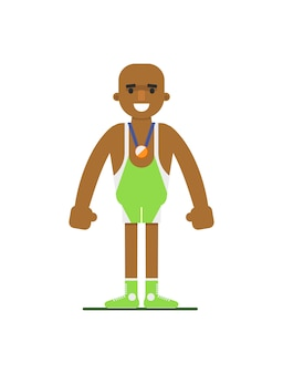 Young african weightlifter in sports uniform