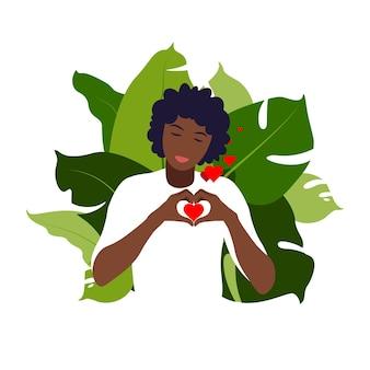 젊은 아프리카 여성은 사랑과 관심으로 큰 마음을 안아. 자기 관리 및 신체 긍정적 인 개념. 페미니즘, 권리를위한 싸움, 소녀 파워 개념. 플랫.