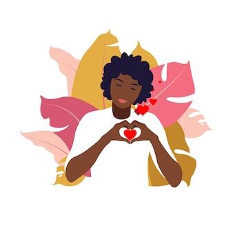 젊은 아프리카 여성은 사랑과 보살핌으로 큰 마음을 껴안습니다. 자기 관리와 신체 긍정적인 개념. 페미니즘, 당신의 권리를 위한 투쟁, 걸 파워 개념. 평평한.
