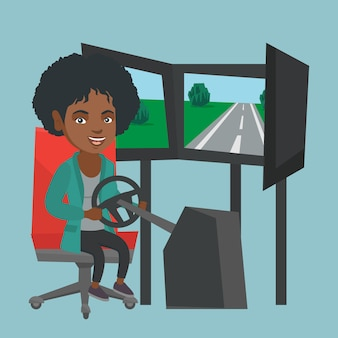 Young african woman playing car racing video game.