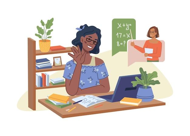 Молодая афроамериканская девушка провела онлайн-урок учителя математики, объясняющего новый урок в видеочате