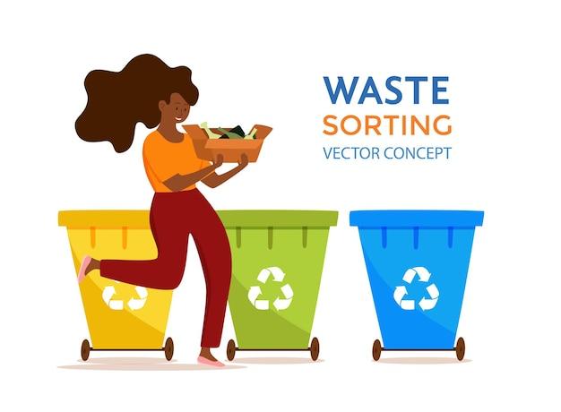 젊은 아프리카계 미국인 여성이 유리 쓰레기를 컨테이너 벡터 삽화에 던지고 있습니다. 폐기물을 다른 탱크에 분류하는 친환경 소녀와 함께 폐기물 관리 개념. 생태 인포 그래픽