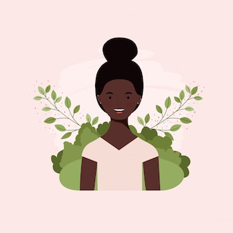 Young afro girl in the camp with leafs