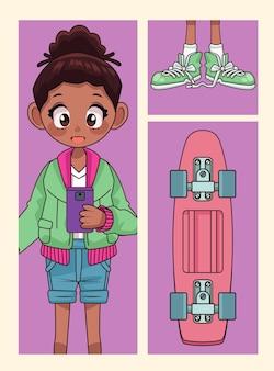 靴とスケートボードのアニメキャラクターイラストと若いアフロティーンエイジャーの女の子
