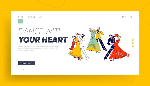 Young and aged couples waltz dancing landing page template.