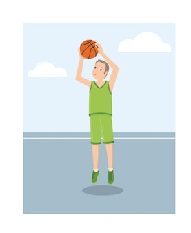 A young american basketball player in green uniform