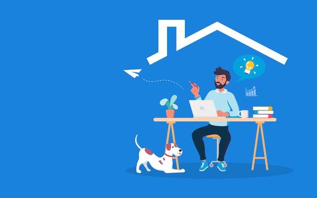 犬と一緒に生活空間で働く若くてスマートなビジネスマン。