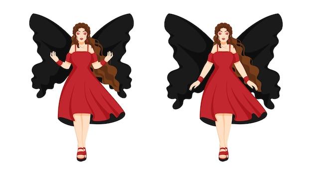 2つのオプションでモダンなドレスを着ている若い天使の女性。