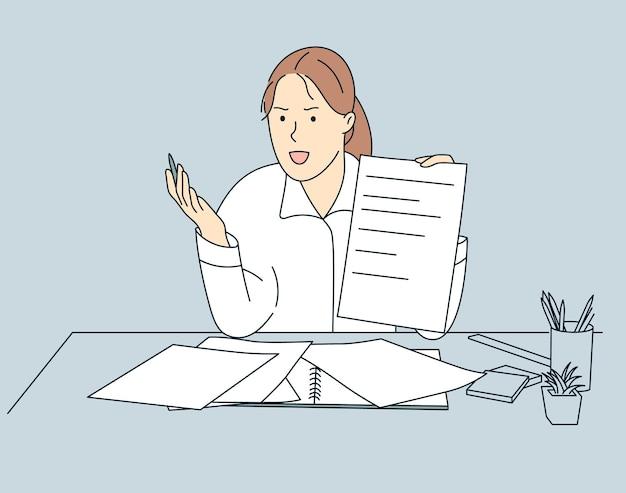 클래스 욕설과 부정적인 감정에 젊은 화가 여자 교사.