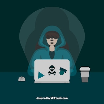 Young anonymous hacker with flat design