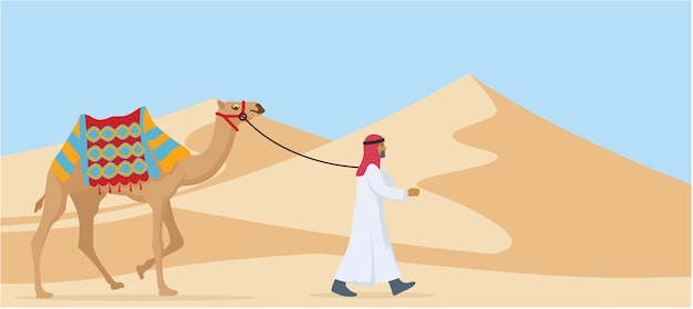 Young arab guy walking his camel trough desert