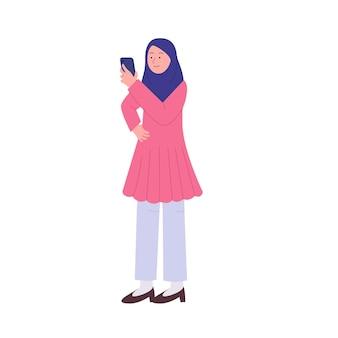 若いアラブのヒジャーブの女性はスマートフォンのフラットイラストを参照してください