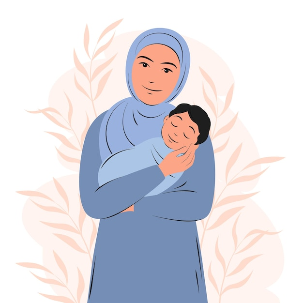 Young arabian woman is holding newborn baby muslim girl in traditional dress