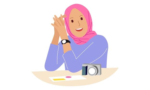 ヒジャーブを身に着けている若いアラビア人女性