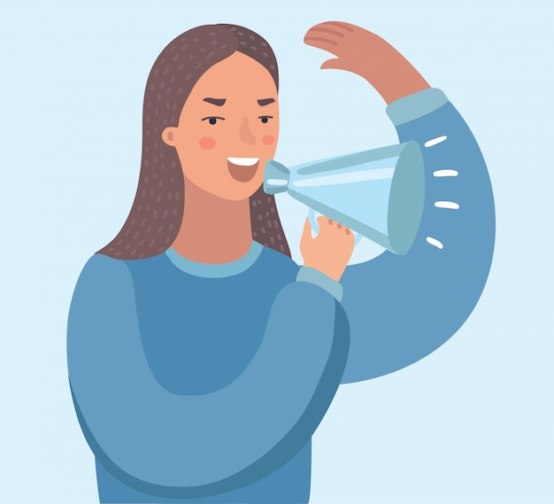 Young asian business woman with loudspeaker making an announcement. business woman making an announcement through a loudspeaker.    illustration  on white background.