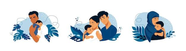 신생아 가족의 날 엽서 템플릿을 가진 젊은 아시아 가족