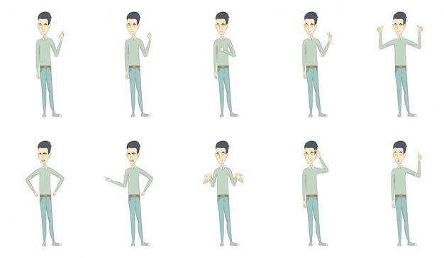 Young asian man character set