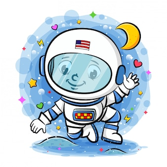 Young astronaut in the space
