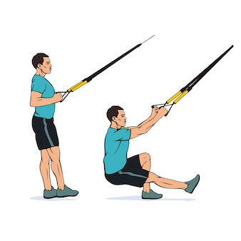서스펜션 트레이너 trx 시스템을 사용하여 한쪽 다리 스쿼트를하는 젊은 선수