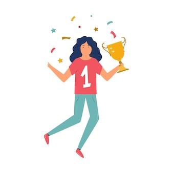 Девушка молодого спортсмена с трофеем в руке празднует победу. плоские векторные иллюстрации