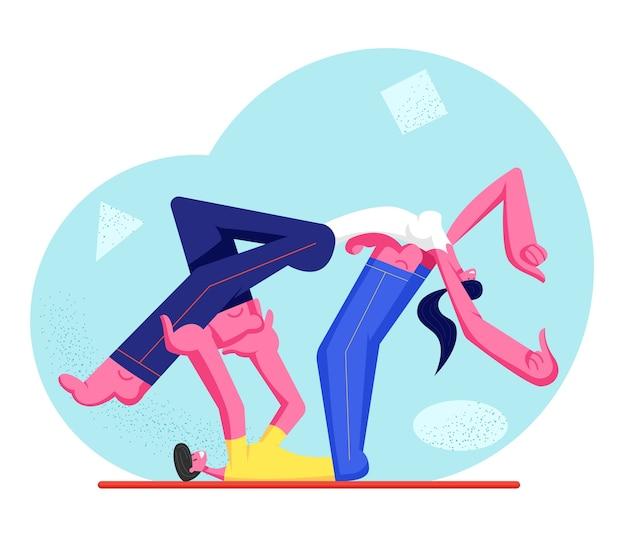 Молодой спортсмен, мужчина и женщина-персонажи в спортивной одежде, занимаются фитнесом или аэробикой