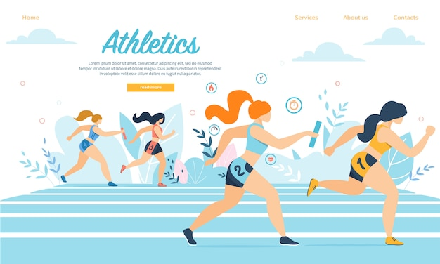 Young athletics sportswomen take part in relay race running on stadium with sticks