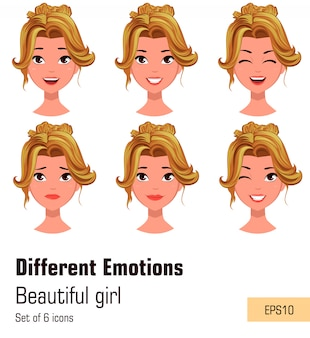 Young attractive blonde girl with various emotions