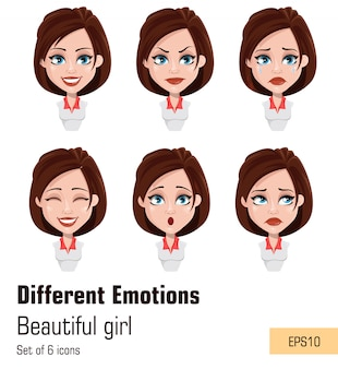 Young attractive girl with different emotions