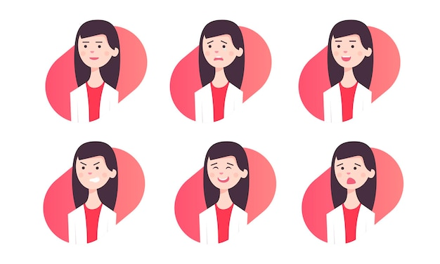 Young attractive girl with various emotions