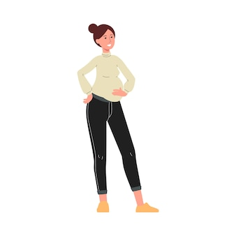 Young attractive pregnant woman cartoon character,   illustration  on white background. maternity and parenthood, family relationship concept.