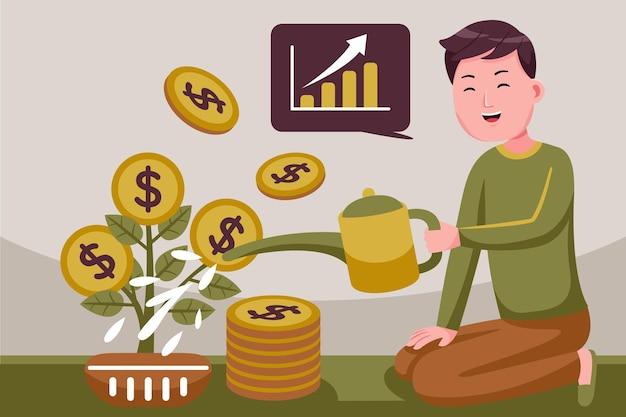 Молодой привлекательный улыбающийся успешный человек душ монетки инвестиций.