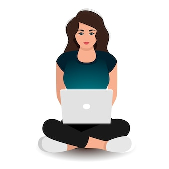Young attractive woman works at a laptop sitting on the floor. freelance concept. vector illustration
