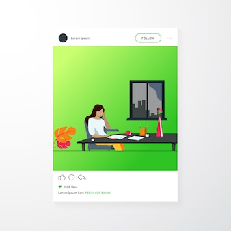 Young author or writer working on new article. woman sitting at clean paper, crumpling pieces of drafts. vector illustration for writing, creative crisis, journalism concept