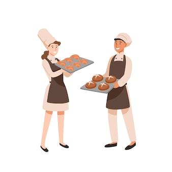 젊은 베이커 평면 벡터 일러스트 레이 션. 과자는 달콤한 재료로 요리하고, 빵집이 있는 남성 및 여성 과자 장수. 직업, 작업 결과입니다. 베이킹 트레이 만화 캐릭터를 가진 남자와 여자.