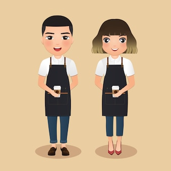 Young barista women and man in apron smiling holding coffee cup. cute cartoon character.