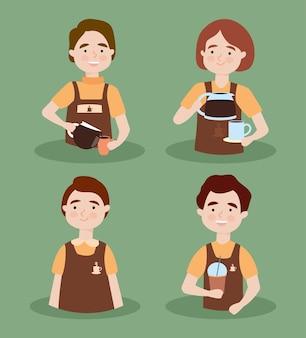 Young baristas people icon set