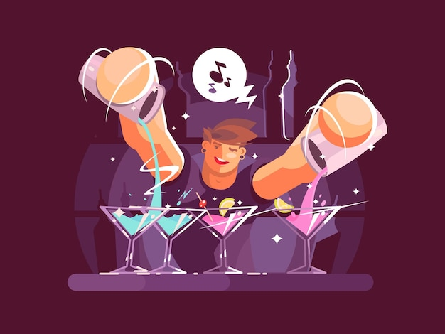 젊은 바텐더 쏟아지는 음료. 바에서 나이트 클럽 노동자. 삽화