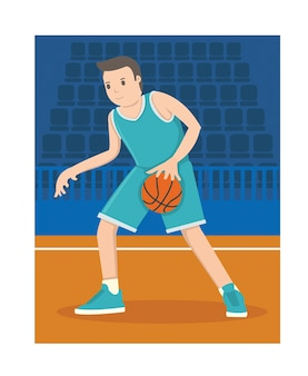 A young basketball player dribble the ball