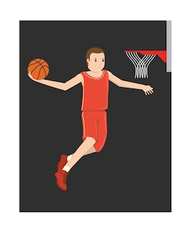 A young basketball player jumping