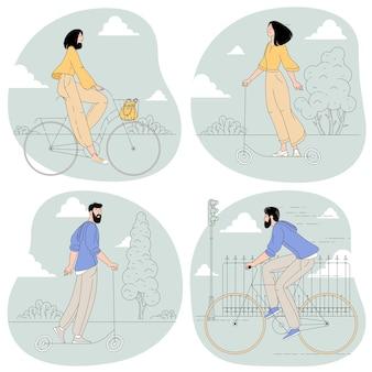 Молодой бородатый мужчина и женщина, езда на велосипедах и электросамокатах Premium векторы