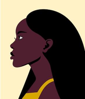 깨끗하고 건강한 머리를 가진 프로필에 젊은 아름다운 아프리카 소녀
