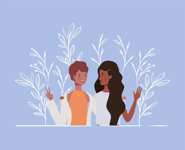 Young and beautiful afro girls couple characters