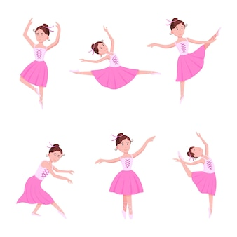 Young beautiful ballerinas set dressed in tutu and pointe shoes standing at the pose flat style