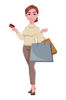 Молодая красивая деловая женщина идет по магазинам