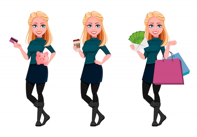 Young beautiful business woman, set of three poses