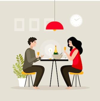 シャンパンを飲みながらろうそくの明かりで家で夕食をとっている若い美しいカップル。自宅でのロマンチックなディナー。ベクトルイラスト