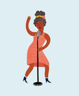 Young beautiful girl sings a song into the microphone isolated vector illustration