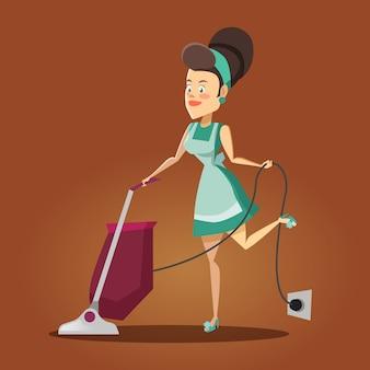 若い美しい主婦が掃除機で家を掃除します。清掃サービス。