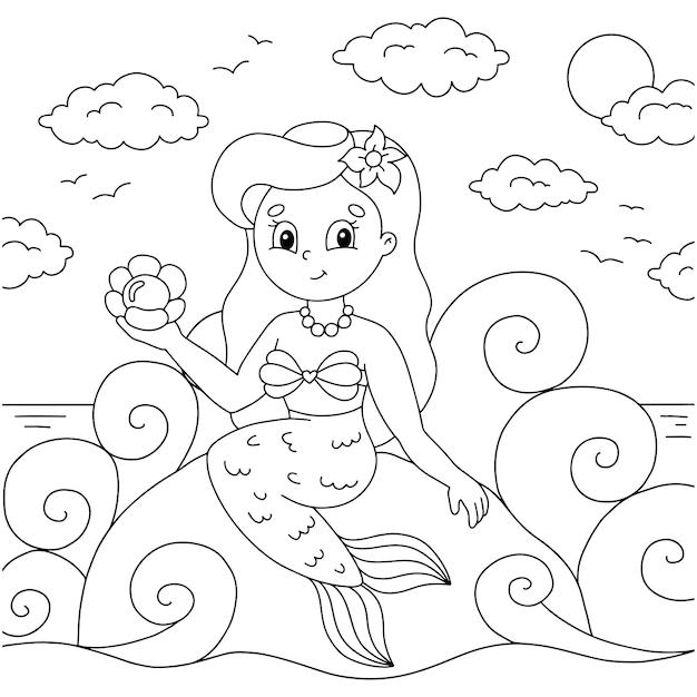 Молодая красивая русалочка сидит на каменной странице книжки-раскраски для детей