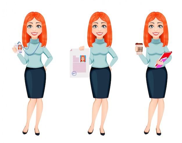 Young beautiful redhead business woman